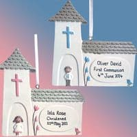Personalised Church with Little Boy - First Communion, Christening, Confirmation Gift - Personal Keepsake